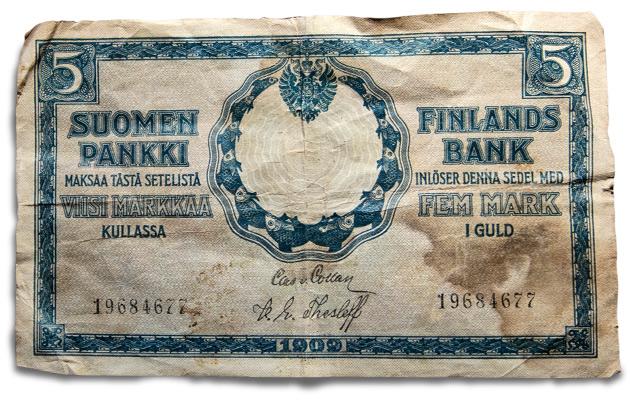 Vanha suomalainen seteli.