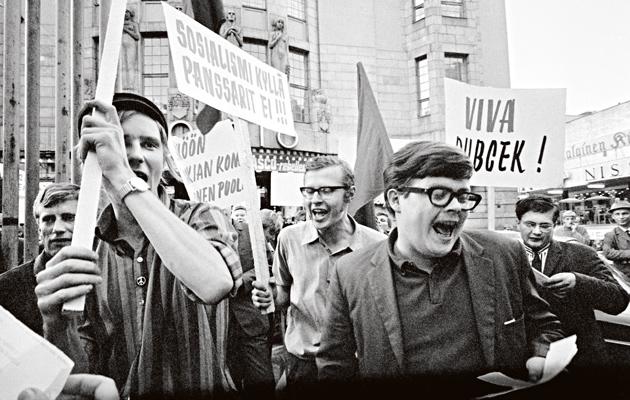 Helsingissä nähtiin 22. elokuuta 1968 poikkeuksellisen raju mielenosoitus.