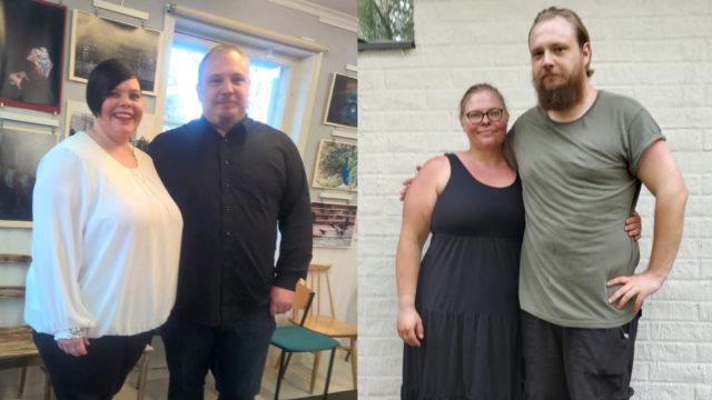 Mari Ikäheimo painoi vielä vuosi sitten noin 145 kiloa ja Mikko Ikäheimo 155 kiloa. Nyt molemmat ovat lähes 50 kiloa hoikempia.