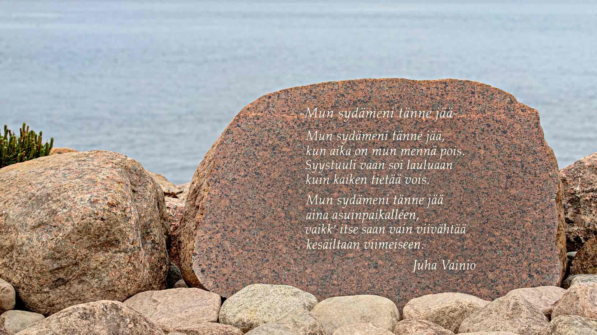 """Juha """"Junnu"""" Vainion kunniaksi pystytetyt ainutlaatuiset riimikivet"""