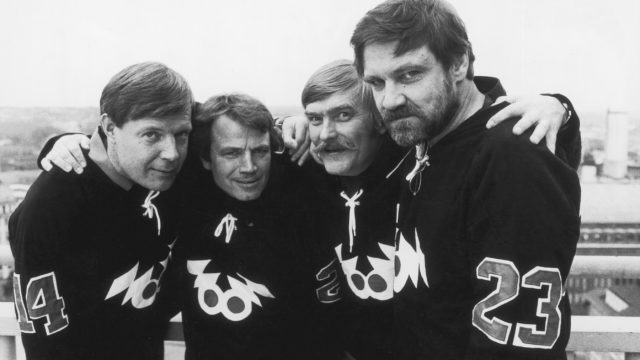 Viihteen ammattilaiset vuonna 1978: Heikki Kahila, Matti Kuusla, Aarre Elo ja Jukka Virtanen.