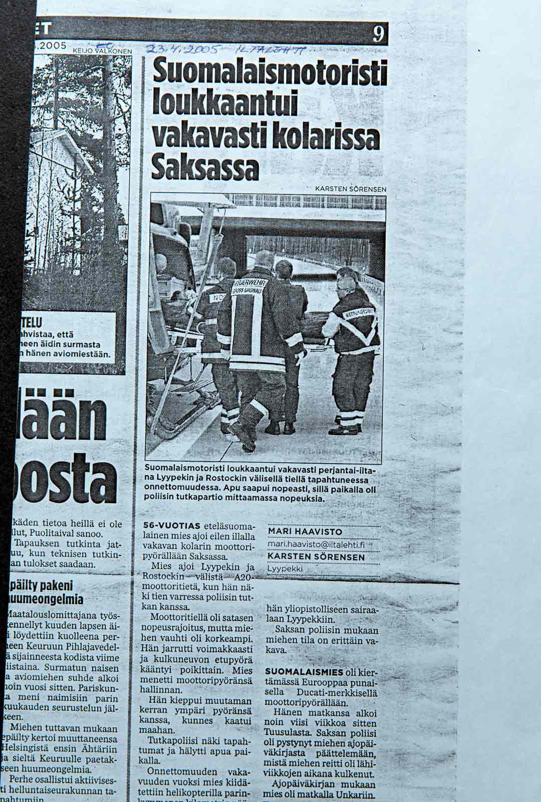 Iltalehden uutinen onnettomuudesta