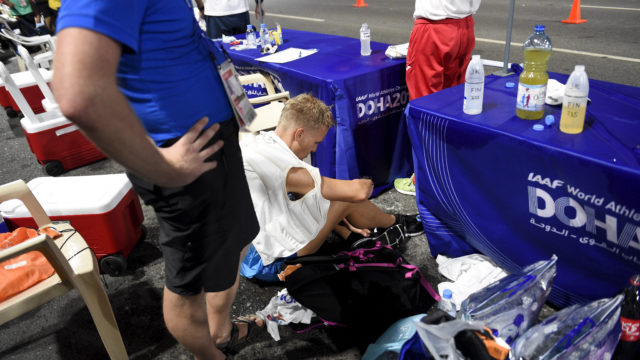 Veli-Matti (Aku) Partanen keskeytti 50 kilometrin kävelyn Dohan yleisurheilun MM-kisoissa.