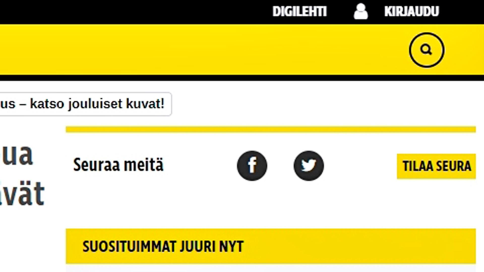 """Ylänavigaation oikealta kohta """"Digilehti"""" ja """"Kirjaudu""""."""