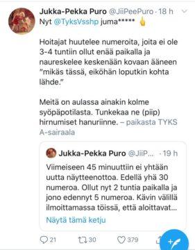 Jukka-Pekka Puro kummasteli pitkiä jonoja Tyksin laboratoriossa.