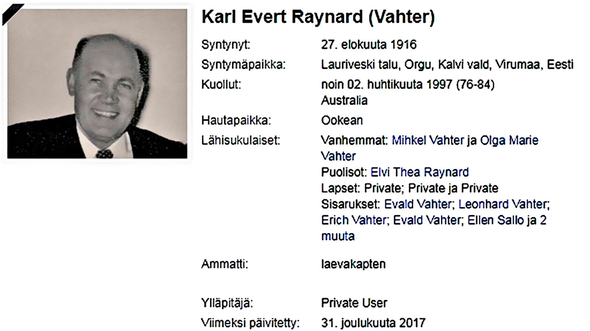 """Tämä on harvoja Karl Vahterista säilyneitä kuvia: australialaismies """"Karl Raynard"""" ehkä 1970-luvulla."""