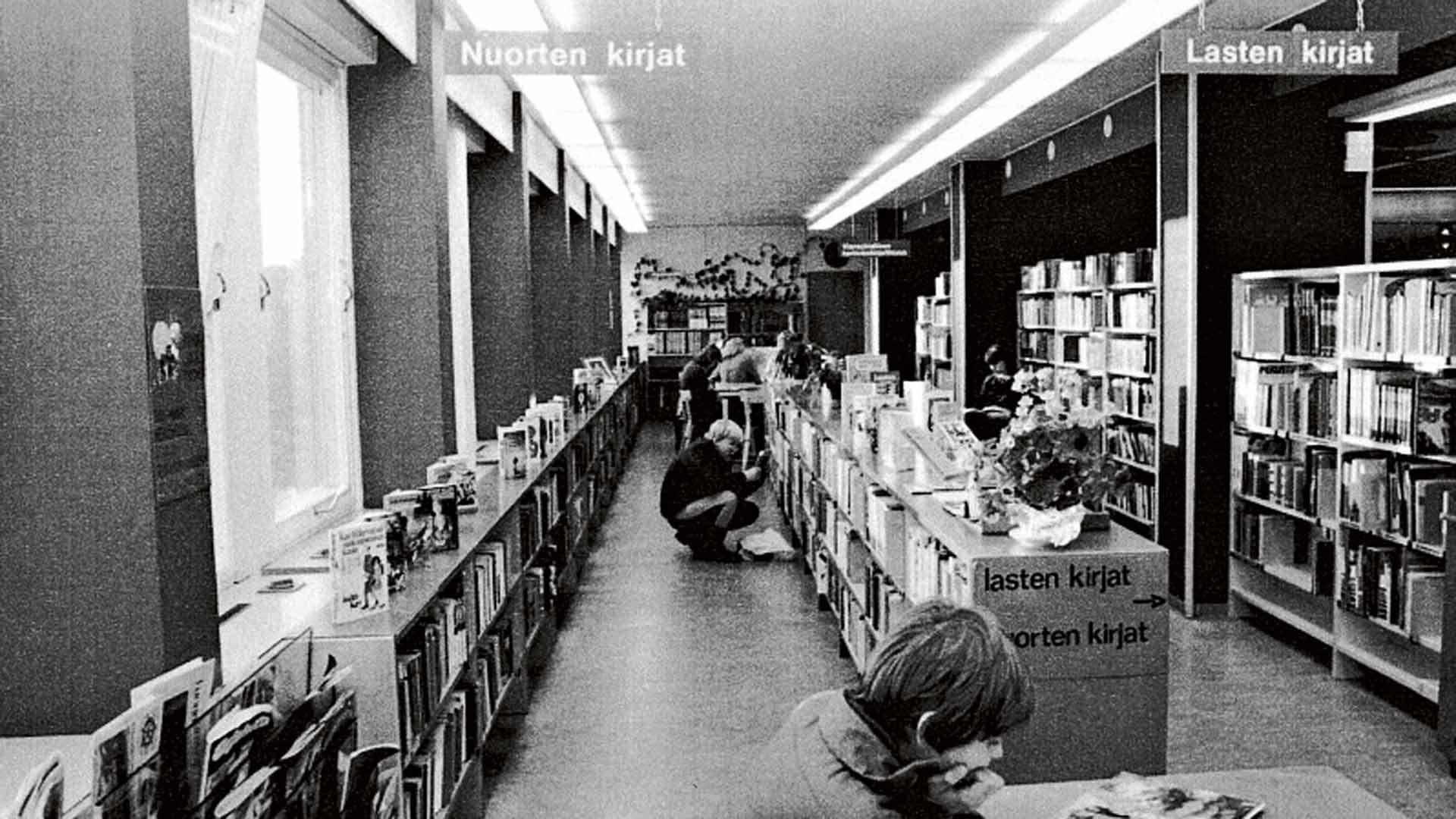 Lahden kaupunginkirjaston lasten- ja nuortenosasto 1980-luvulla.