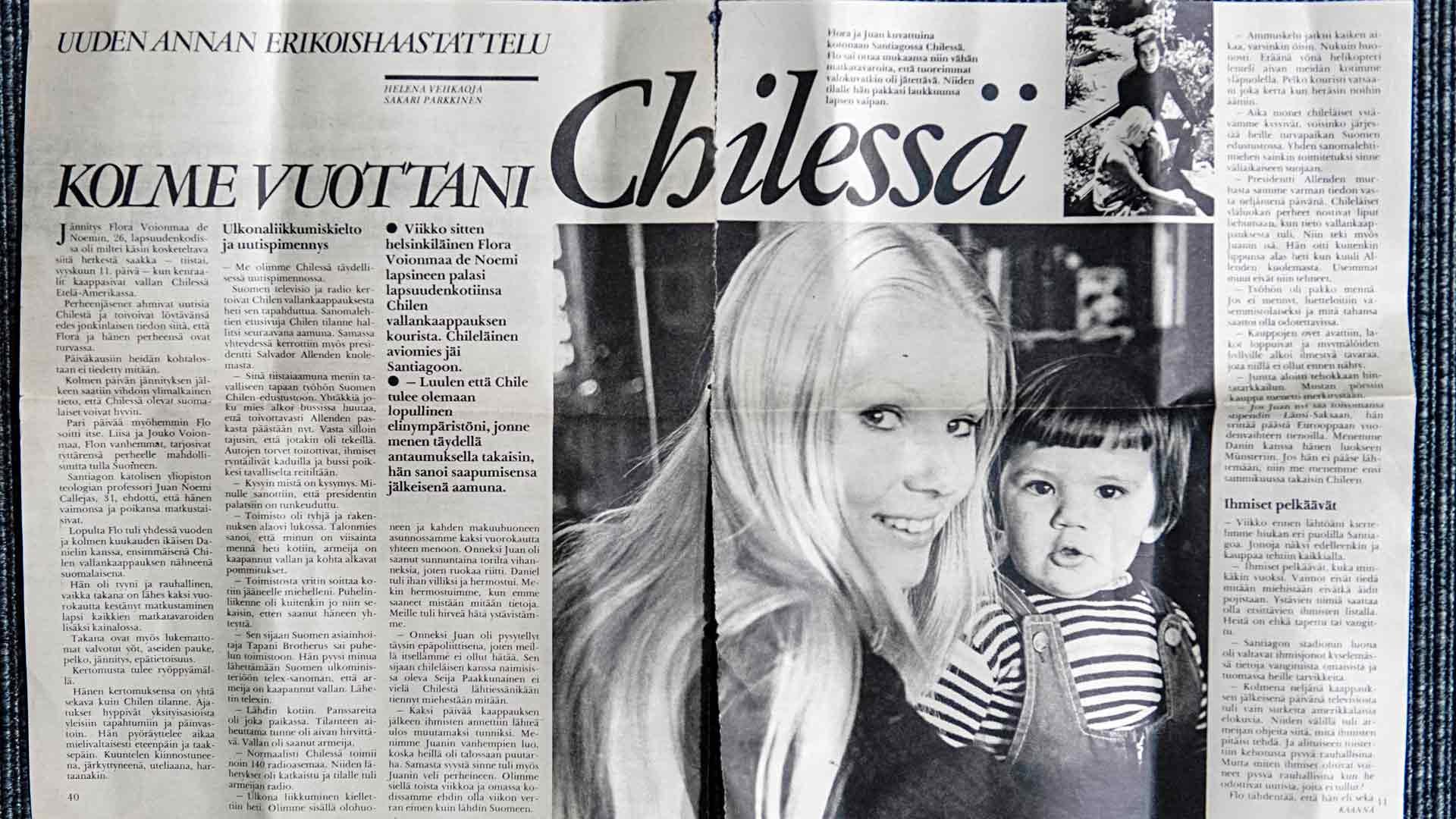 Vuonna 1973 Flora Voionmaa de Noemi päätyi lehtijuttuihin kertomaan elämästään Chilessä.