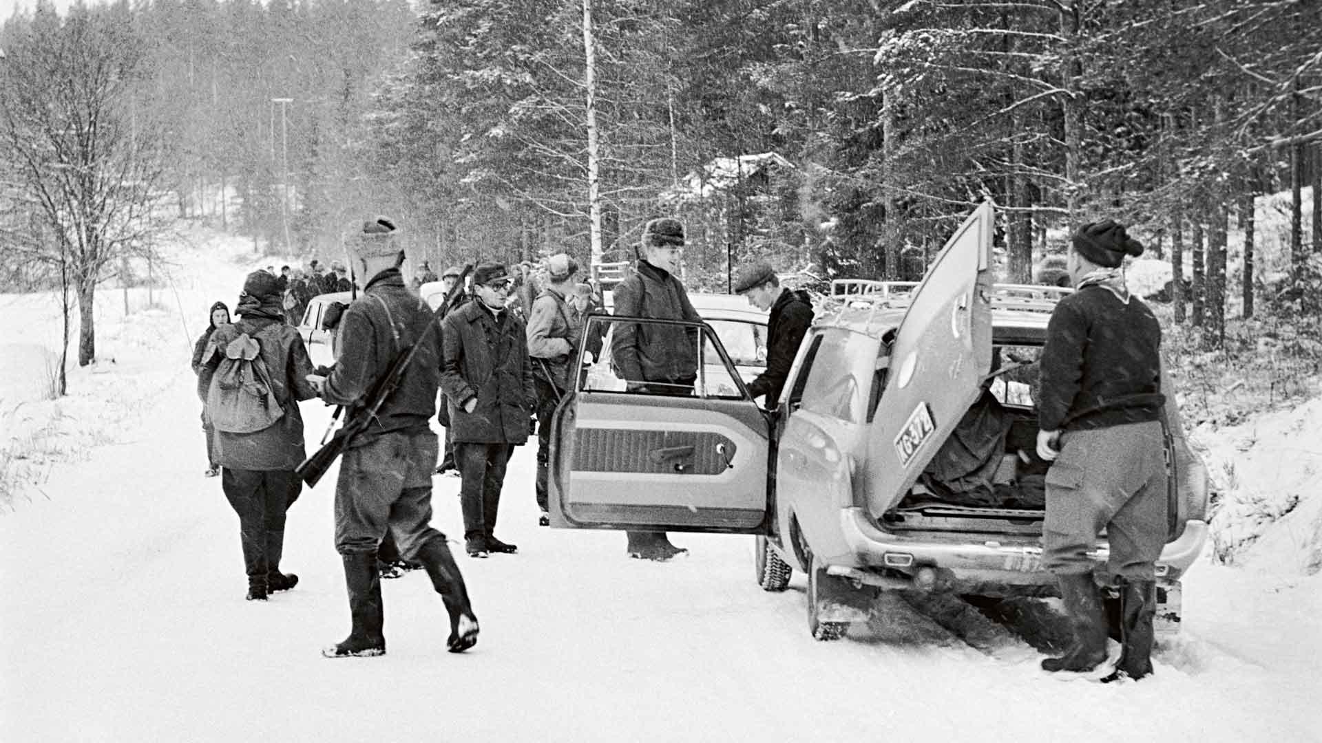 Jossain päin Suomea on jälleen nähty susi. Kuva Rautalammilta tammikuussa 1964.