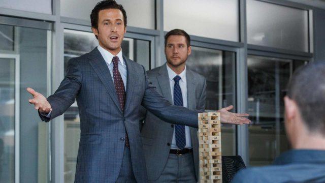 The Big Short -elokuvan keskeisissä rooleissa Christian Bale, Steve Carell ja Ryan Gosling.