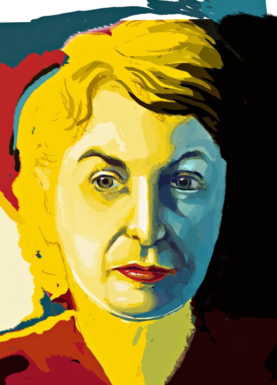 Pauline Kael 1919–2001, kuvassa Felipe Muhrin maalaamana.