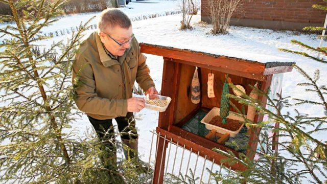 Risto Soljennon ruokintapaikka on Kerimäen keskustan tiaisille tuttu paikka jo monen vuoden ajalta.