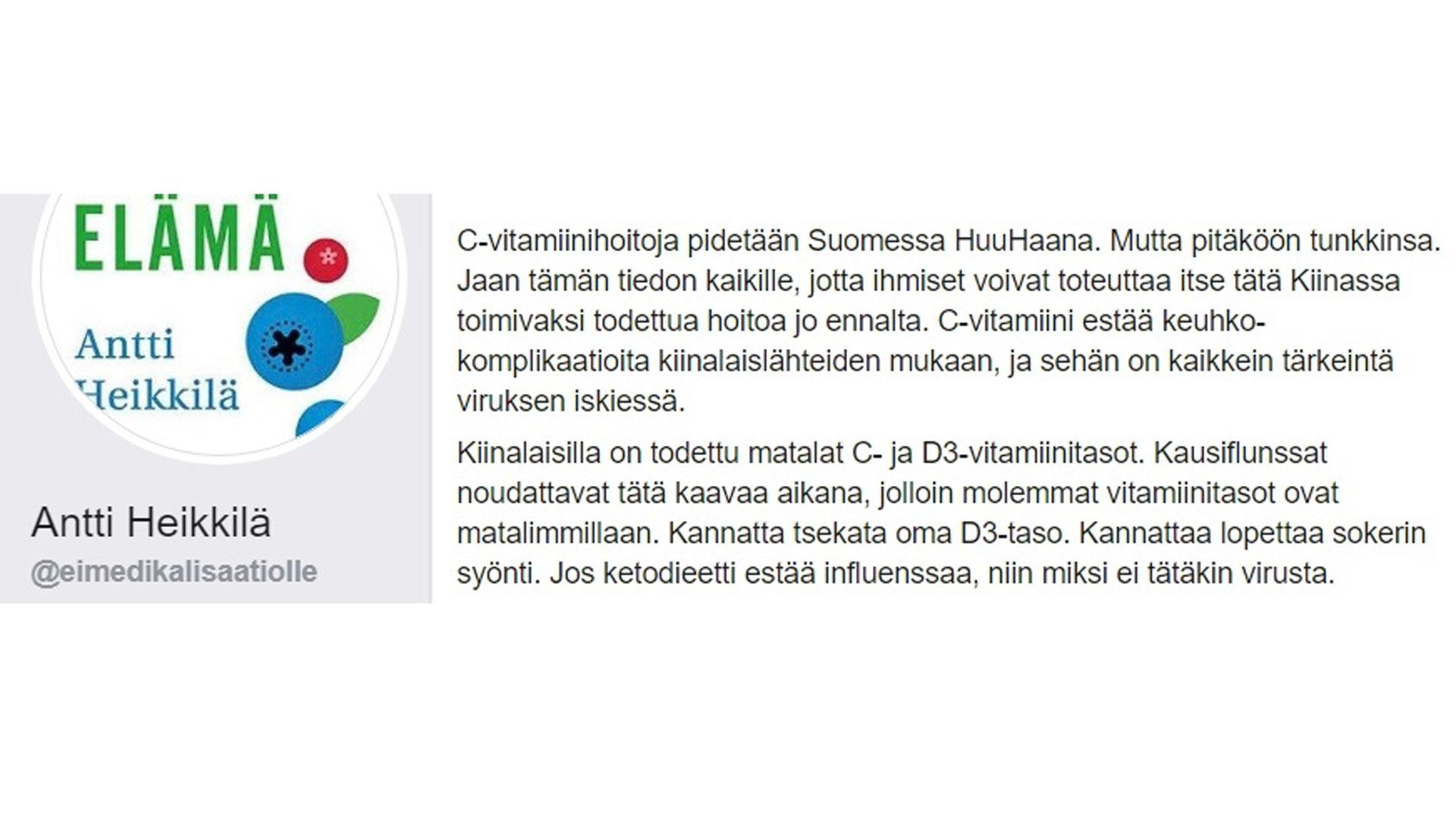 Antti Heikkilä ja C-vitamiini