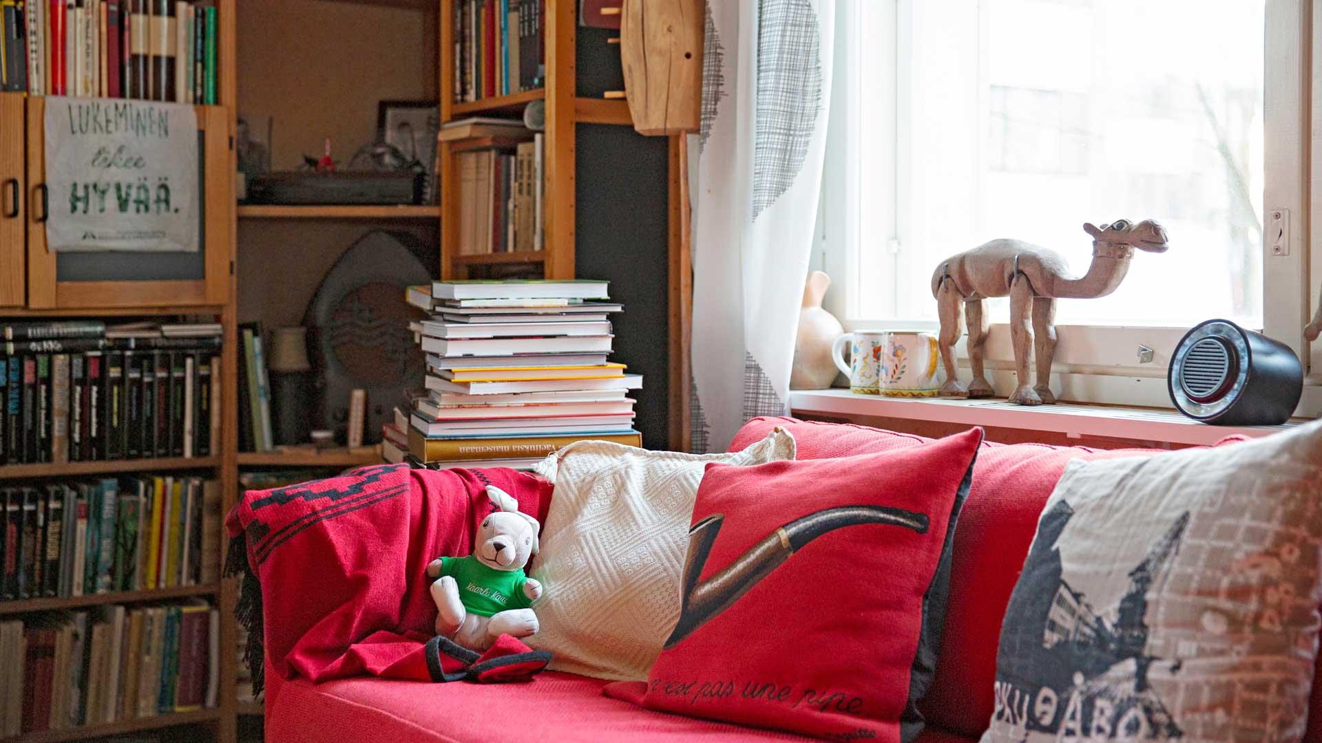 Olohuoneen lukunurkan piipputyyny on peräisin Amos Rexin Magritte-näyttelystä. Ikkunalaudalla jolkotteleva puinen kameli on Tunisiasta.