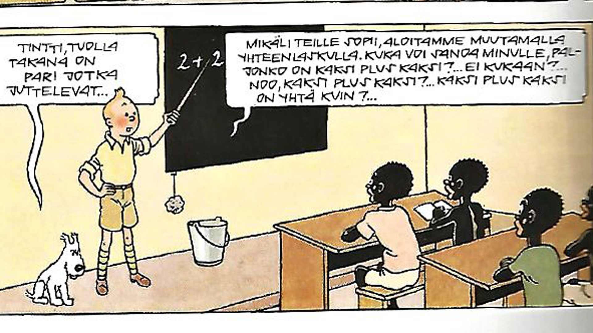 Väriversio, suomeksi Tintti Afrikassa, julkaistiin sodan jälkeen vuonna 1946, jolloin oppituntikin on muuttunut laskennoksi.