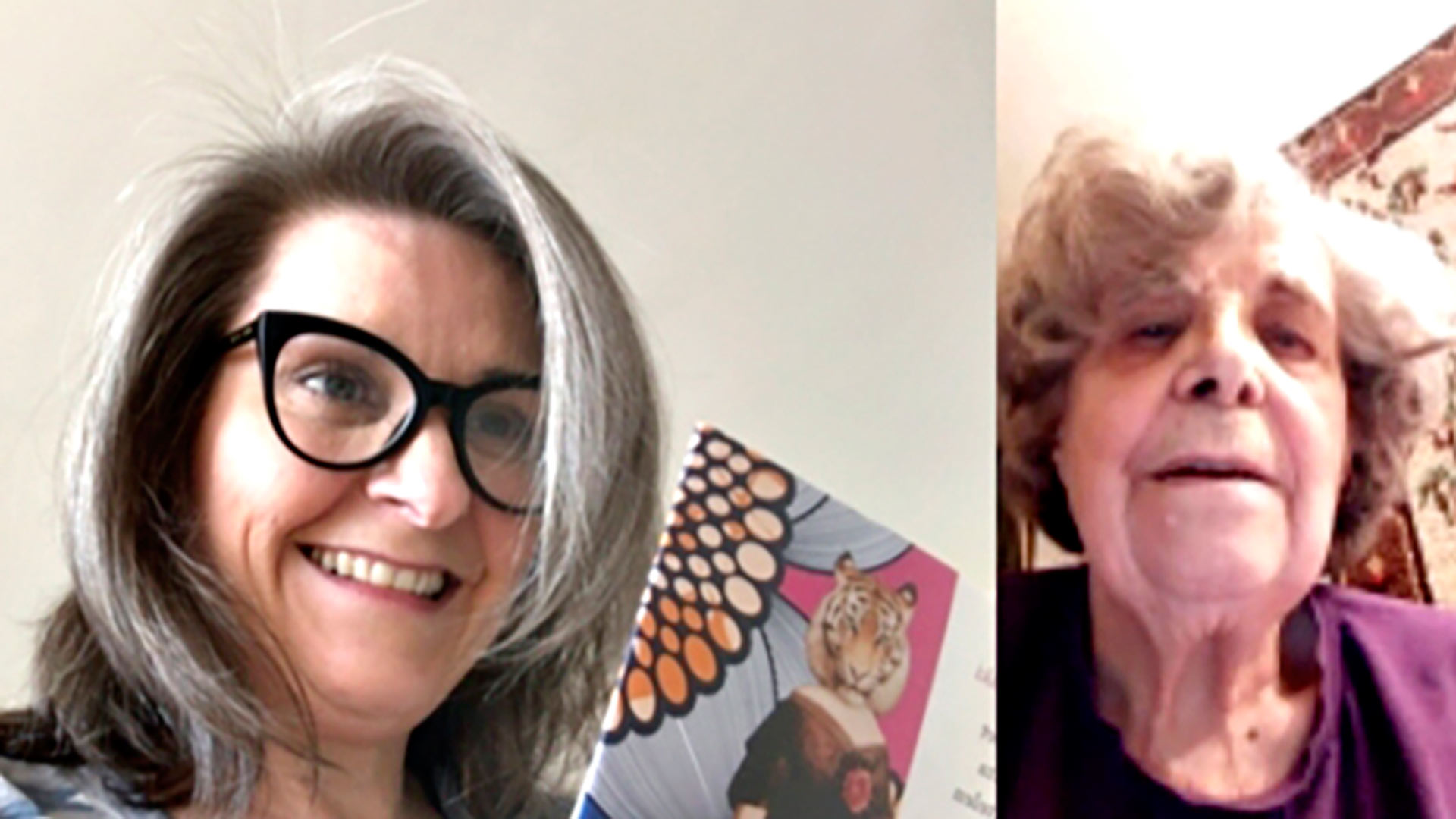 Karanteeni ei estä yhteyttä mantereiden välillä. Mia Halonen ja hänen äitinsä Liisa Halonen lukevat kirjoja Messengerin kuvapuheluiden välityksellä.