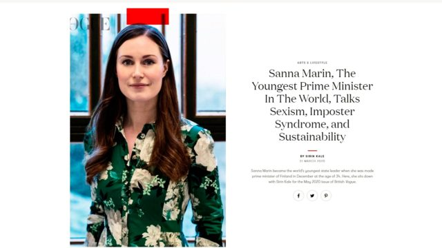Vogue kiittelee myös muotimielessä Sanna Marinin ulkoisen tyylin luonnollisuutta.