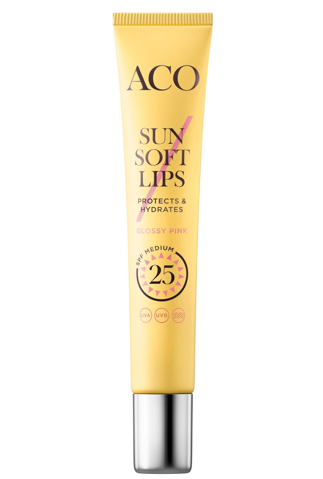 ACOn huulikiilto antaa aurinkosuojan lisäksi huulille myös kauniin hohteen, 9,90 €/12 ml.