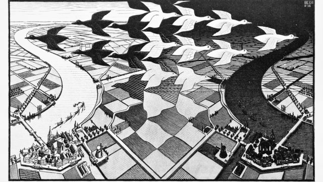 Hollantilaisen Maurits C. Escherin taide oli usein lähtöisin unista ja unen logiikasta, jossa asiat muuttuvat liukuen toisiksi. Puupiirros Päivä ja yö on vuodelta 1938.