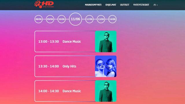 Venäläisiä musiikkivideoita esittänyt 1HD näkyi Suomen antenniverkossa kanavapaikalla 17 kevääseen asti. Koronan tultua kanava ei enää hakenut lähetyksilleen jatkolupaa.
