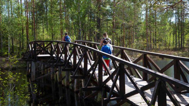 Pieni tunnelmallinen silta johtaa luontokirkon luo.