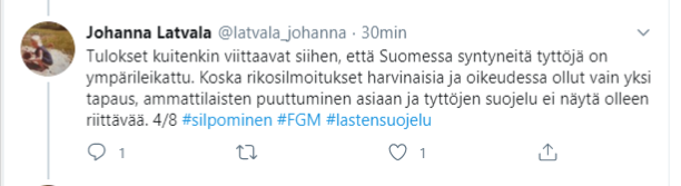 Johanna Latvalan tweet