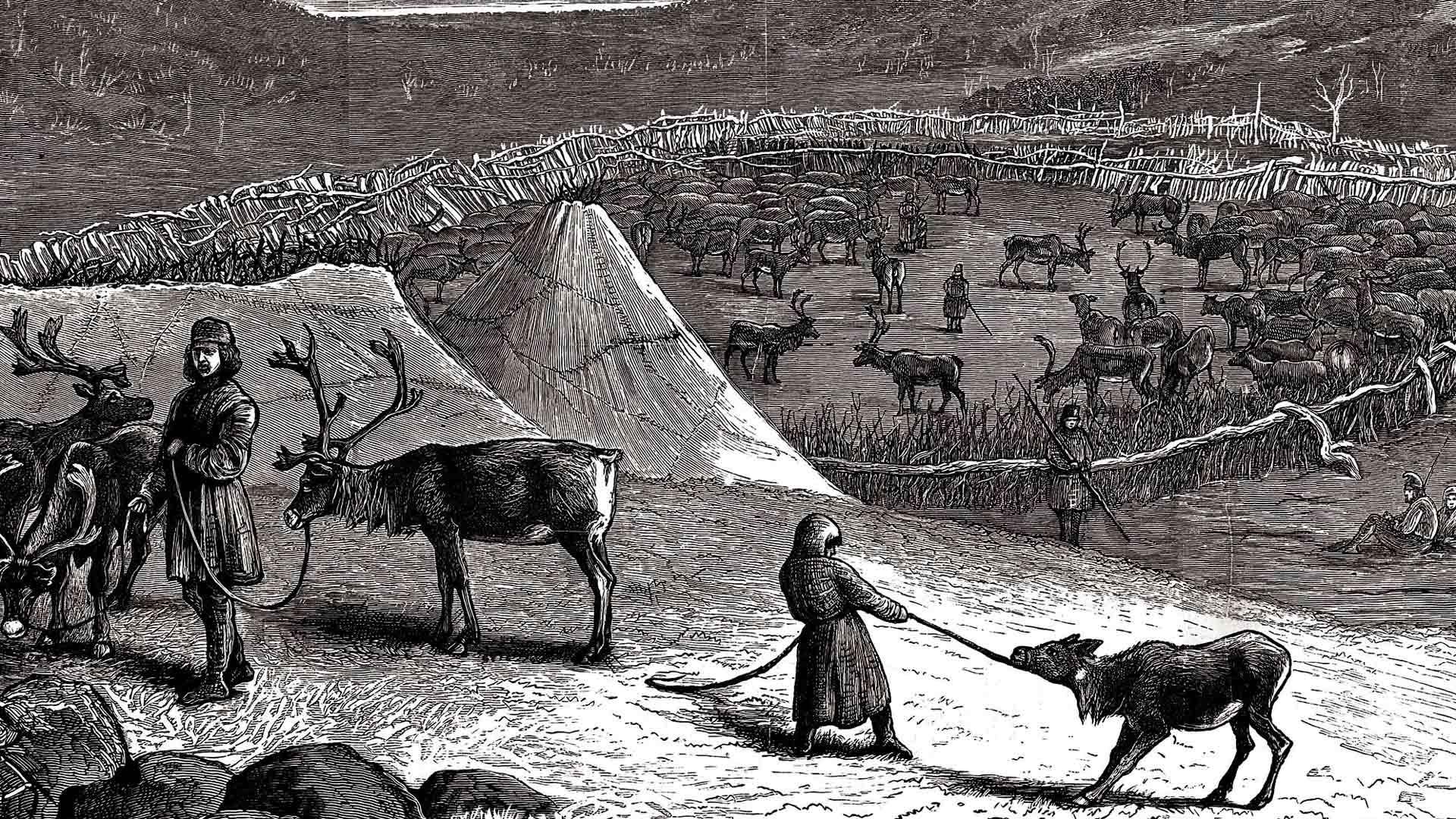 Kuvaus saamelaisten leiristä 1800-luvulta.