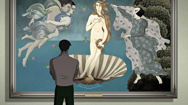 Sandro Botticellin Venuksen syntymä -teos animaatioversiona animaatiossa Ruben Brandt, taiteenkerääjä.