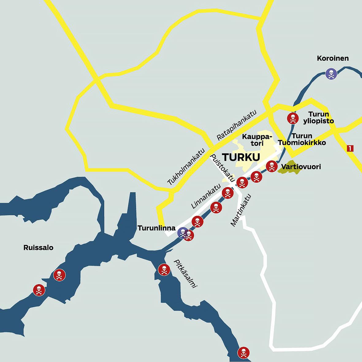 Vuosien 2000–2017 aikana Turussa on kadonnut toistakymmentä nuorta miestä, mikä ruokkii tarinaa, että alueella liikkuu sarjamurhaaja. Joen petollisuutta selittää sen reitti aivan Turun ydinkeskustassa. Jussi Marttilan kokoama kartta näyttää, että Aurajokeen on hukkunut ihmisiä koko sillä matkalla, jolla joki halkoo kaupunkia.