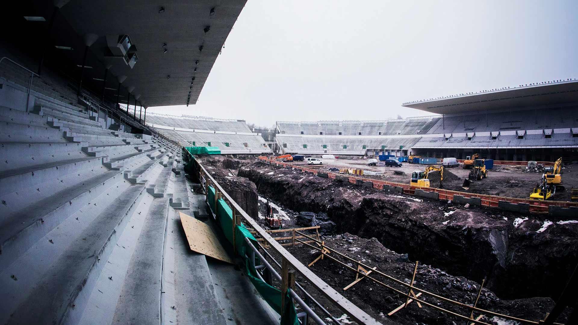 Olympiastadionin remontin lopullinen hinta saattaa nousta yli 300 miljoonaan. Kuva remontista vuodelta 2017.