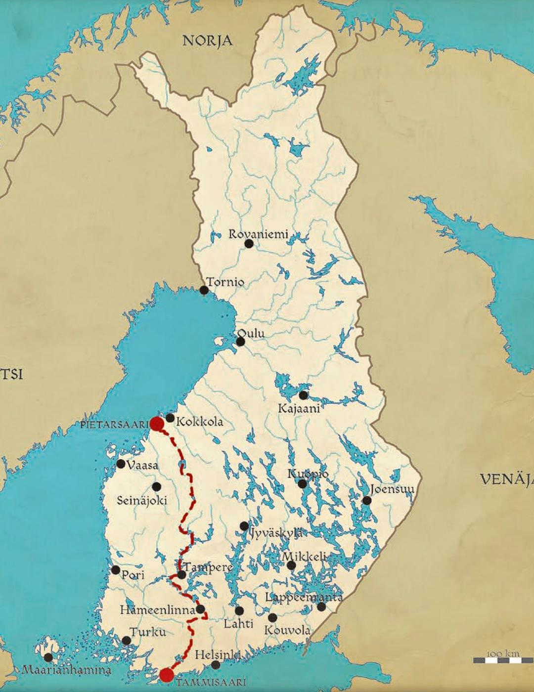 Riskiretken reitti Tammisaaresta Pietarsaareen. Matkaan lähdettiin toukokuussa 2009, ja määränpää saavutettiin elokuussa 2017. Riskiretki-kirjan kuvitusta.