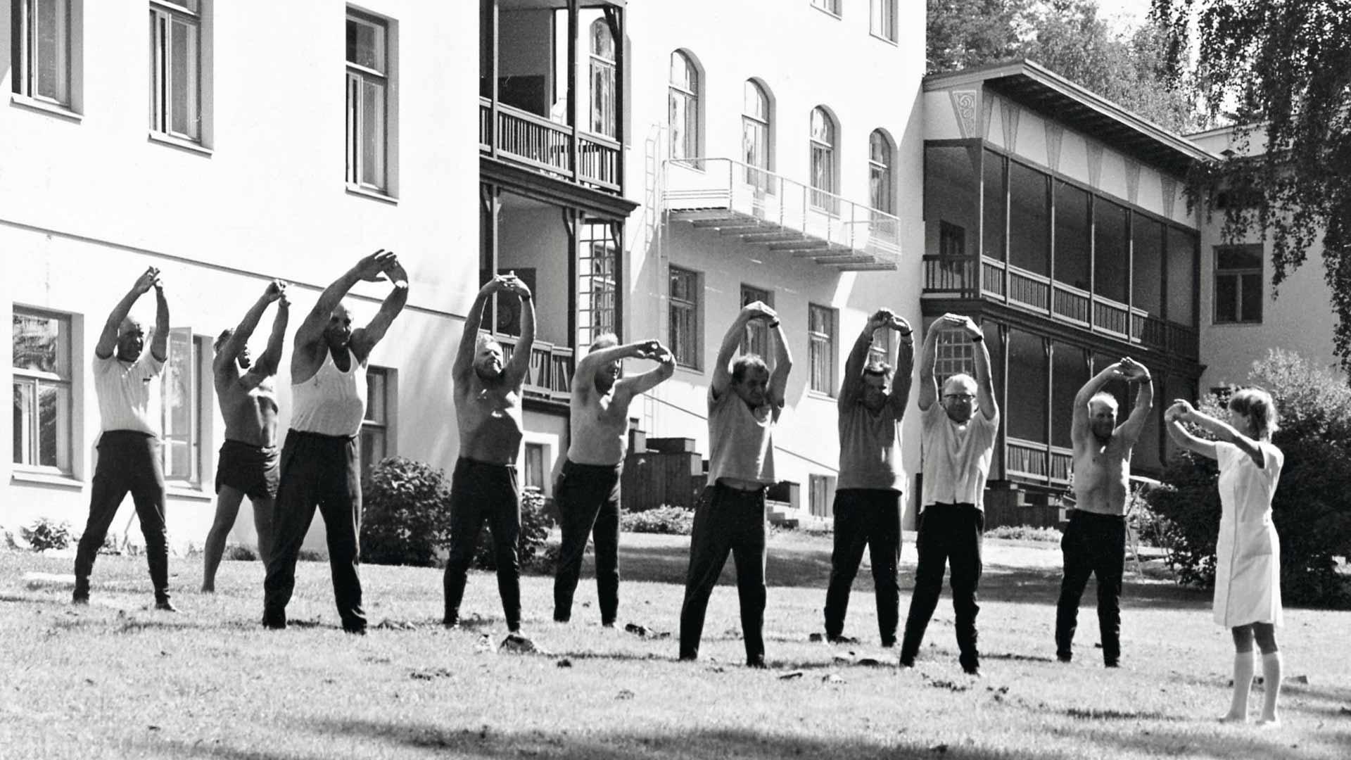 Säännöllinen liikunta kuului potilaiden ja kuntoutujien päivärytmiin.